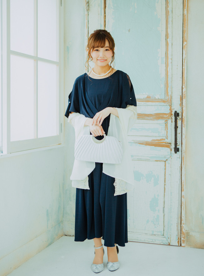 【レンタル】《Web限定特価》[2L] 4点セット(ドレス&羽織・バック・ネックレス ネイビー)