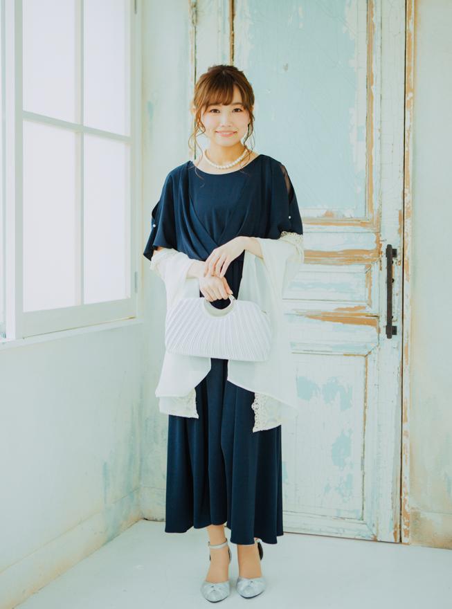 [2L]《Web限定特価》4点セット(ドレス&羽織・バック・ネックレス ネイビー)