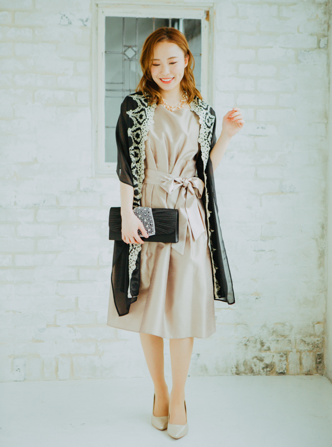 【レンタル】[L]《Web限定特価》4点セット(ドレス&羽織・バック・ネックレス ベージュ)