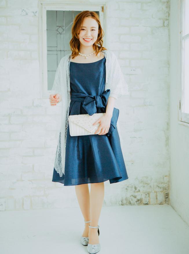 【レンタル】《Web限定特価》[M]4点セット(ドレス&羽織・バック・ネックレス ネイビー)