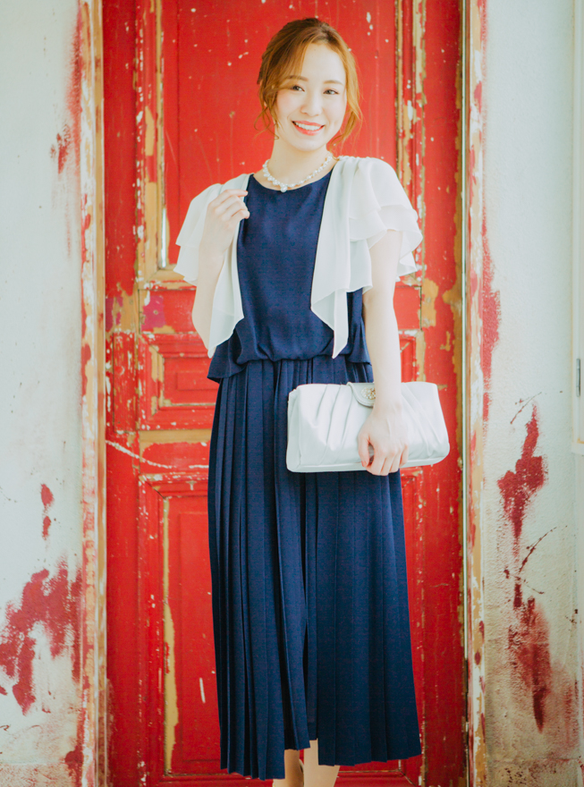 [M]【4点セット】ドレス&羽織・バック・ネックレス ネイビー