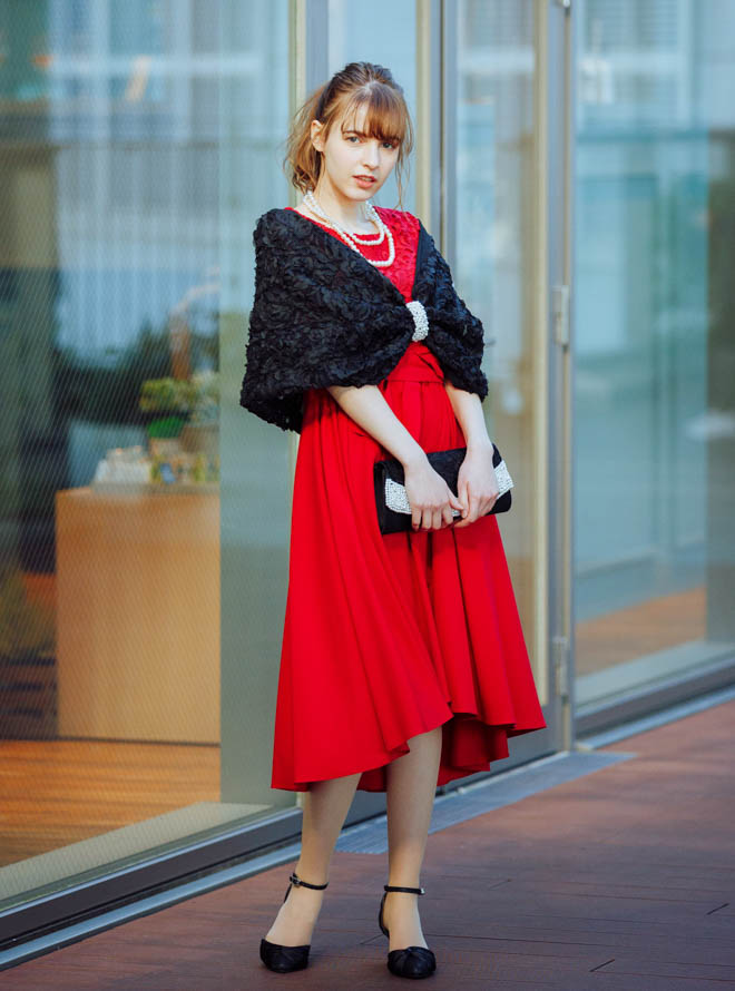 【Web限定特価】[M]4点セット(ドレス&羽織・バック・ネックレス レッド)