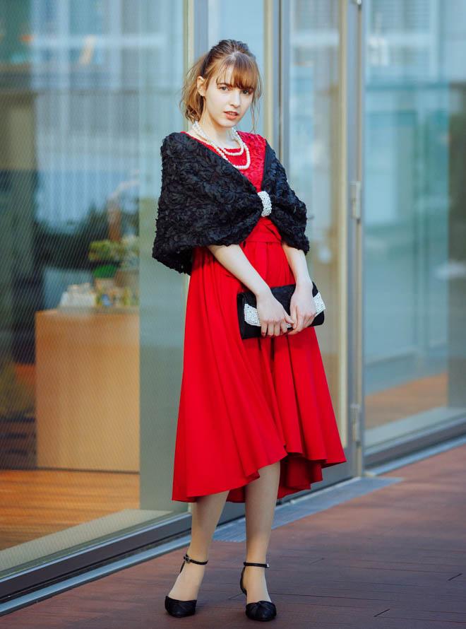 【レンタル】《Web限定特価》[M]4点セット(ドレス&羽織・バック・ネックレス レッド)