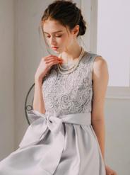 [M] ノースリーブ胸コード刺繍ワンピース