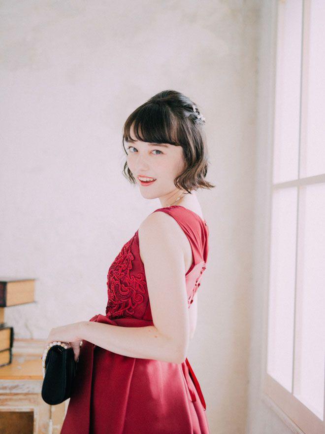 [M] ノースリーブ胸コード刺繍ワンピース ボルドー