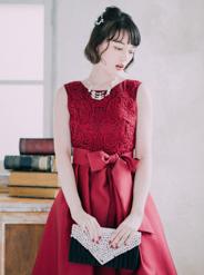 【レンタル】[M] ノースリーブ胸コード刺繍ワンピース ボルドー