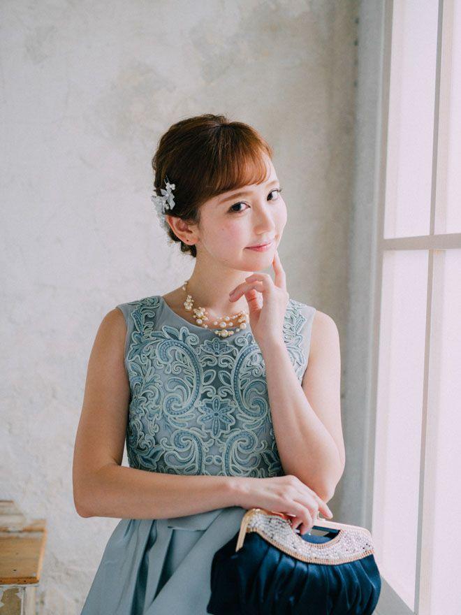 [M] ノースリーブ胸コード刺繍ワンピース ミント