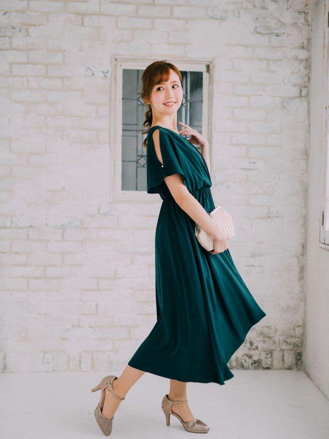 [M] アクセサリー付フレア袖ロングワンピース グリーン