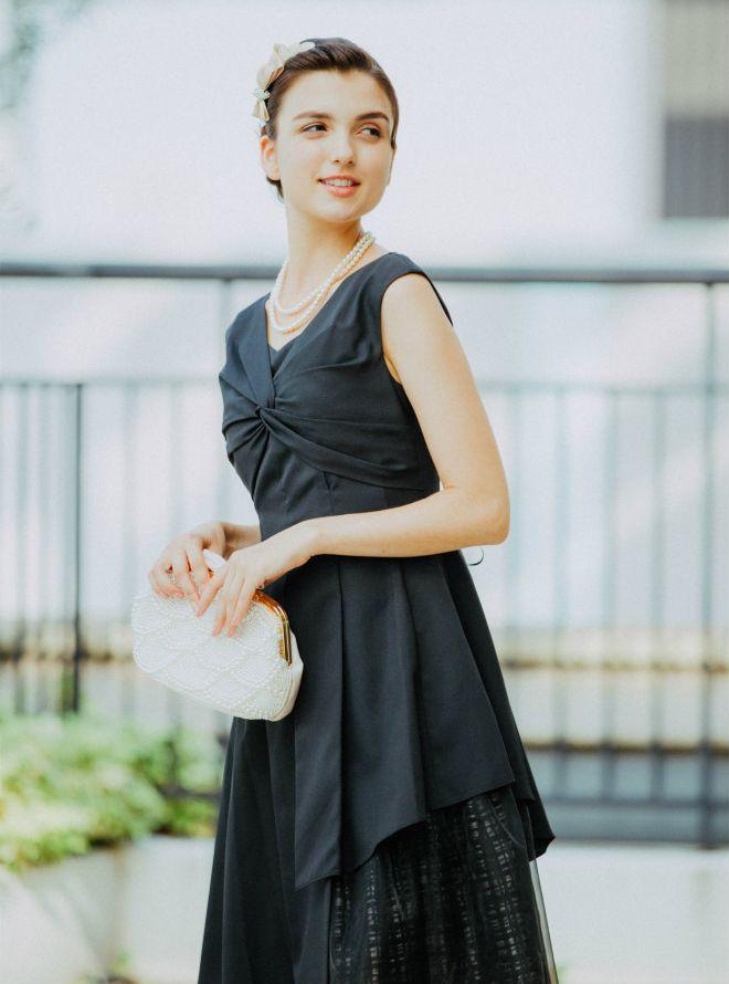 [M] Vネック胸前ギャザー裾切替ワンピース ブラック