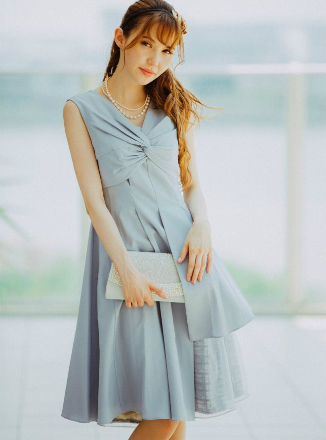 [M] Vネック胸前ギャザー裾切替ワンピース ブルー
