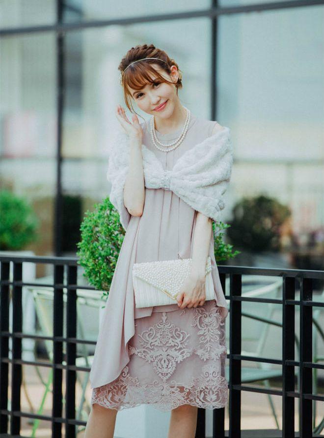 [M] ノースリーブハイネック裾レース切替ワンピース ピンク