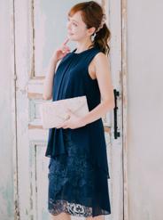【レンタル】[M] ノースリーブハイネック裾レース切替ワンピース ネイビー