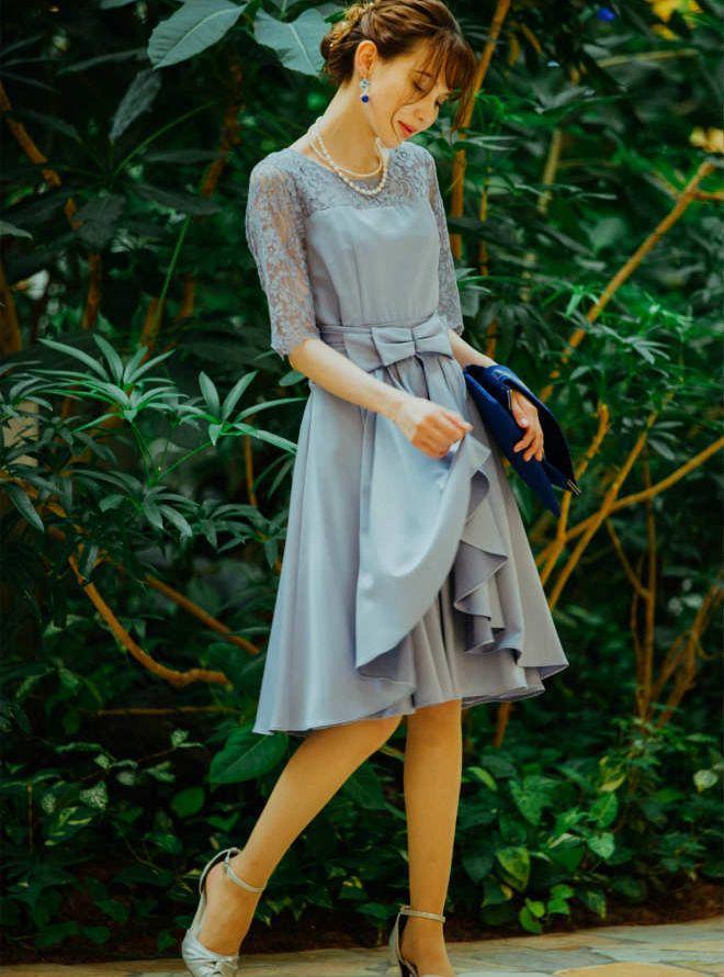 35c3a4dfbf558  M  五分袖胸切替ウエストスカート付ワンピース ブルーグレー|レンタルドレス LULUTI - 結婚式・成人式・謝恩会などのパーティーに