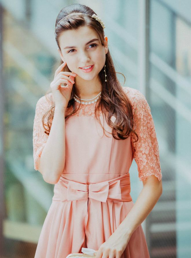 [M] 五分袖胸切替ウエストスカート付ワンピース ピンク