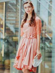 【レンタル】[M] 五分袖胸切替ウエストスカート付ワンピース ピンク