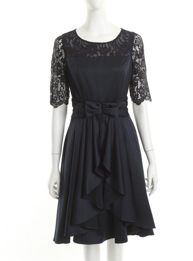 [M] 五分袖胸切替ウエストスカート付ワンピース ネイビー