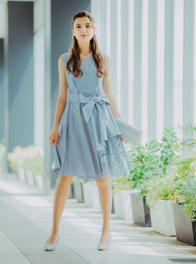 [M] ノースリーブ裾イレギュラー異素材切替ワンピース ブルーグレー