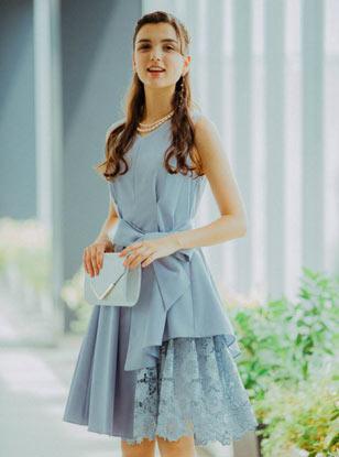 【レンタル】[M] ノースリーブ裾イレギュラー異素材切替ワンピース ブルーグレー