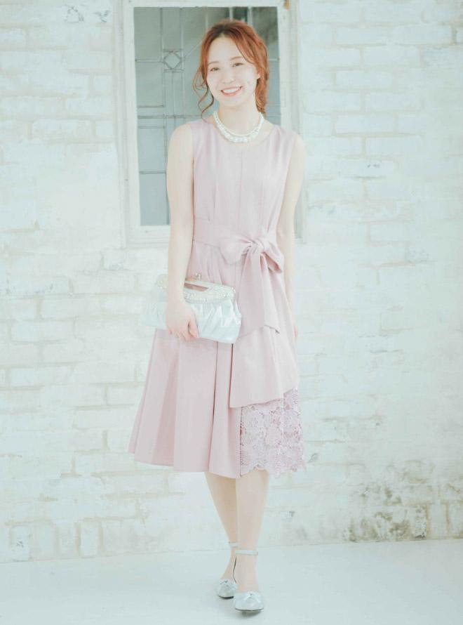 【レンタル】[M] ノースリーブ裾イレギュラー異素材切替ワンピース ピンク