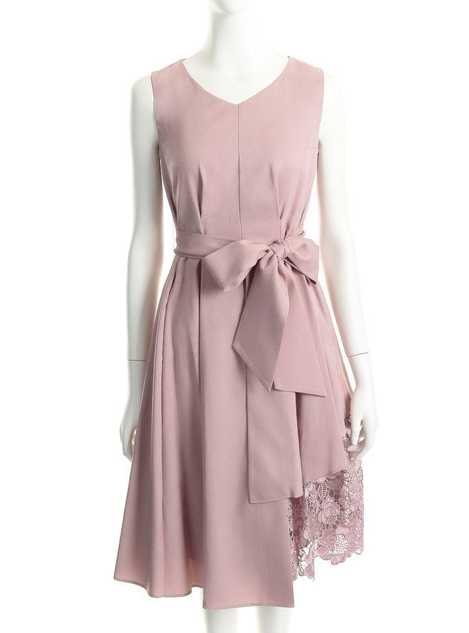 [M] ノースリーブ裾イレギュラー異素材切替ワンピース ピンク