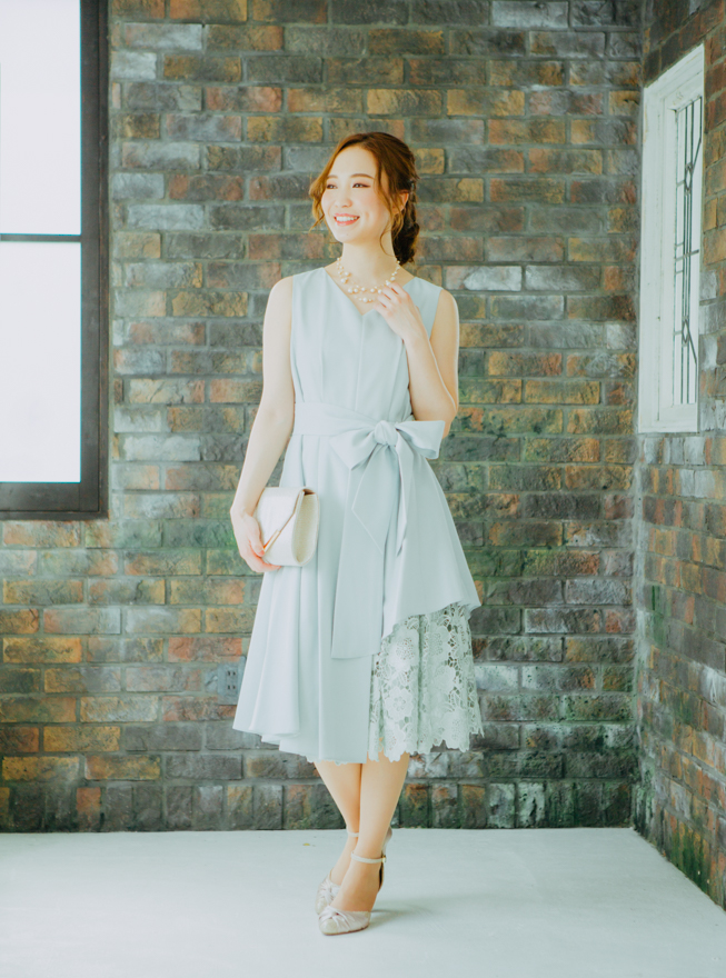 [2L] ノースリーブ裾イレギュラー異素材切替ワンピース ミントグリーン