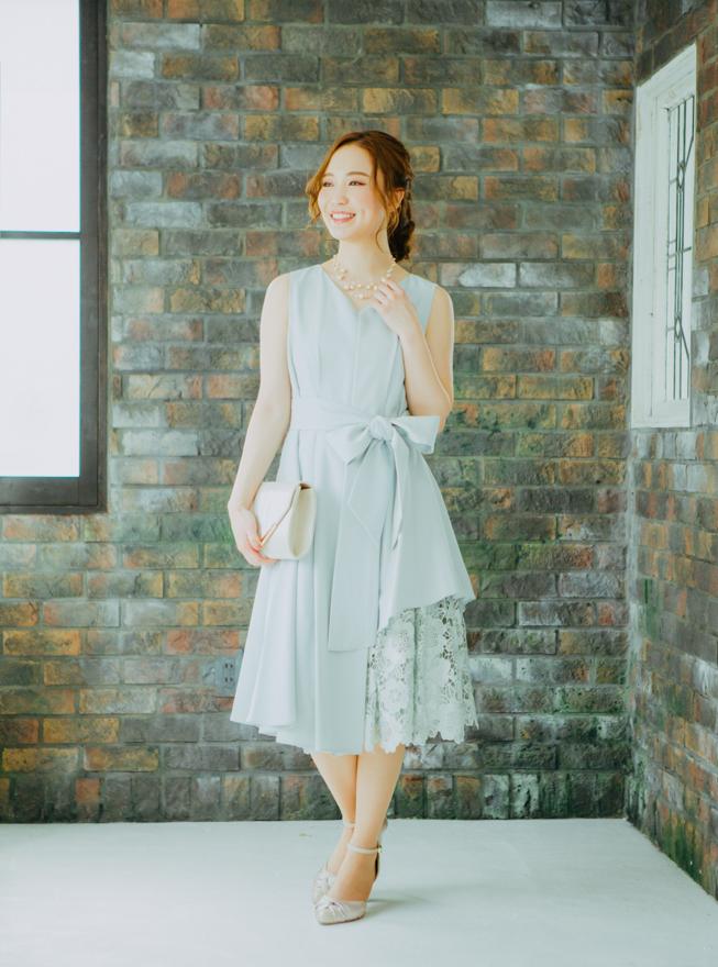 [M] ノースリーブ裾イレギュラー異素材切替ワンピース ミントグリーン
