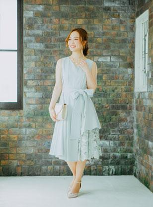 【レンタル】[M] ノースリーブ裾イレギュラー異素材切替ワンピース ミントグリーン