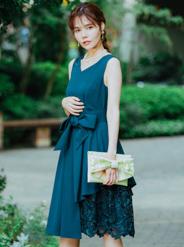 【レンタル】[M] ノースリーブ裾イレギュラー異素材切替ワンピース グリーン