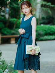 [M] ノースリーブ裾イレギュラー異素材切替ワンピース グリーン