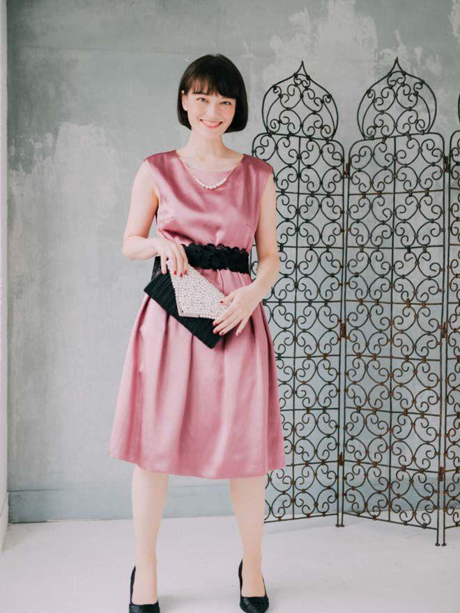 [2L] ノースリーブウエスト配色リボンサテンワンピース ピンク