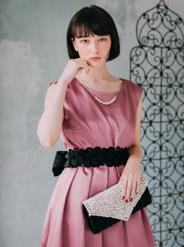 【レンタル】[2L] ノースリーブウエスト配色リボンサテンワンピース ピンク