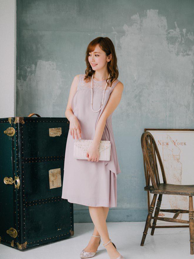 [M] ノースリーブ切替ナナメフリルAラインワンピース ピンク