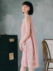 [M] ノースリーブVネックサイド切替レースワンピース ピンク