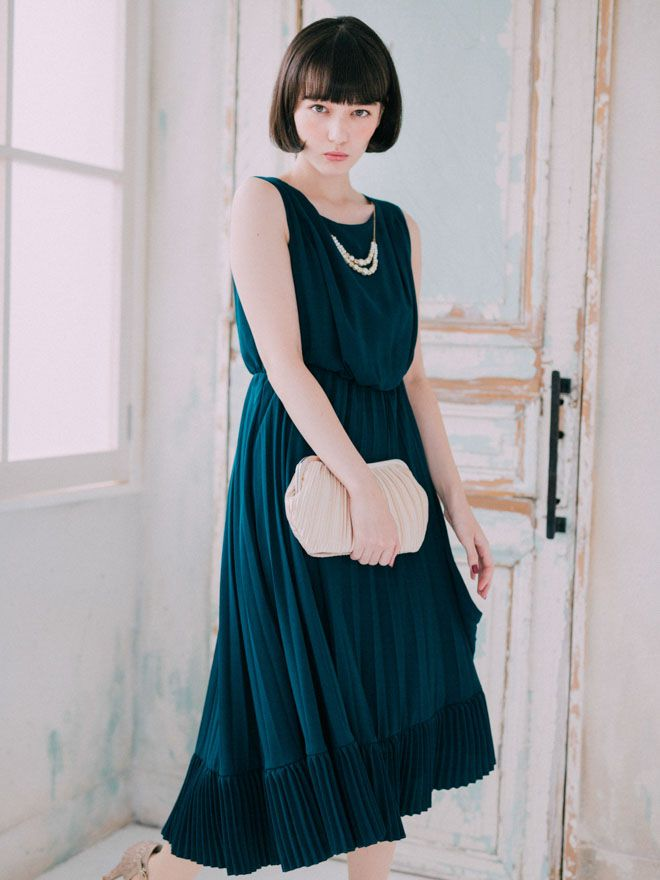 [M] アクセサリー付きWプリーツロングドレス グリーン