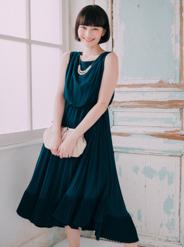 【レンタル】[M] アクセサリー付きWプリーツロングドレス グリーン