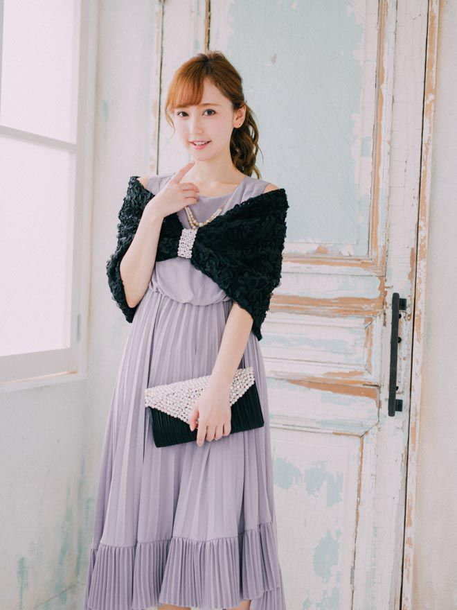 [M] アクセサリー付きWプリーツロングドレス パープル
