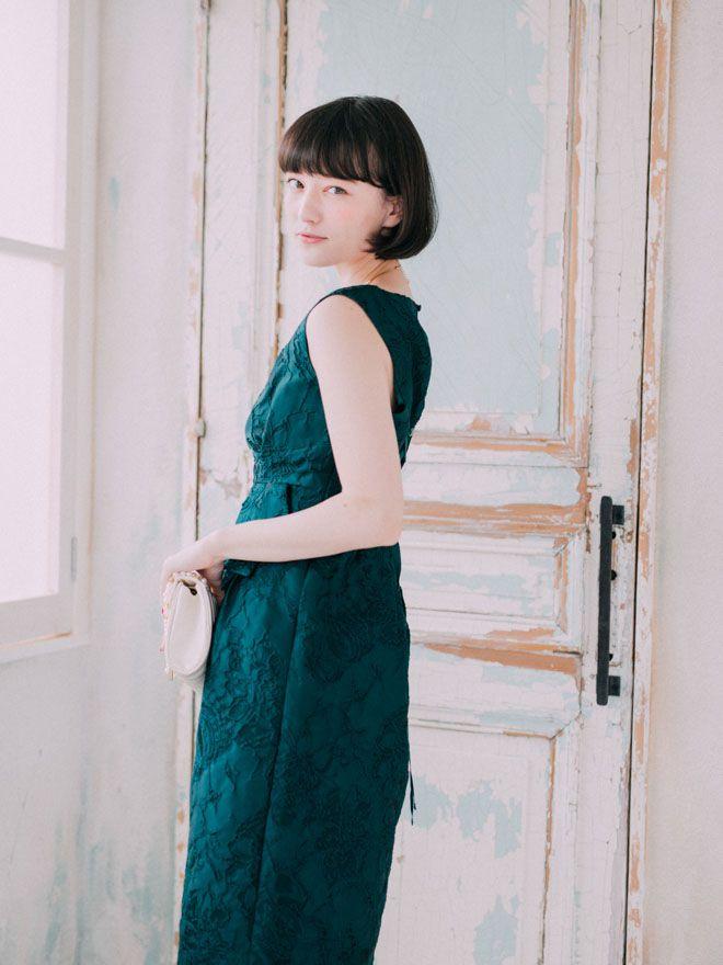[M] ノースリーブジャガードフィットドレス グリーン