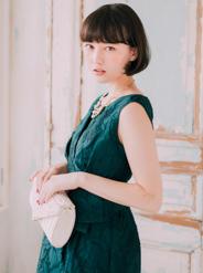 【レンタル】[M] ノースリーブジャガードフィットドレス グリーン