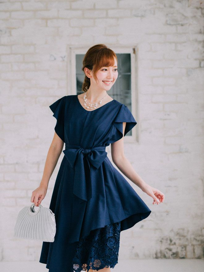 [2L] 袖フリル裾イレギュラー異素材切替ワンピース ネイビー