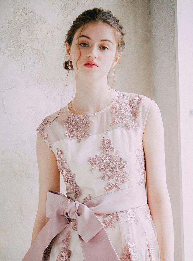 [2L] サッシュベルト付ノースリーブチュール刺繍ワンピース ピンク