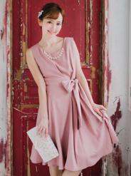 【レンタル】[2L] アクセサリー付ウエストリボン裾パール付ワンピース ピンク