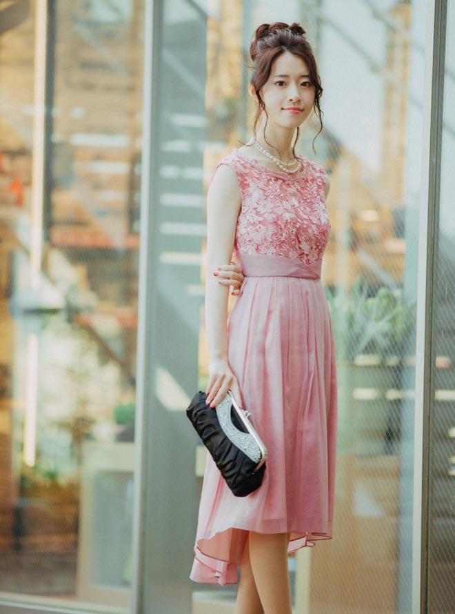 [M] ノースリーブ花刺繍切替オーガンジーワンピース ピンク
