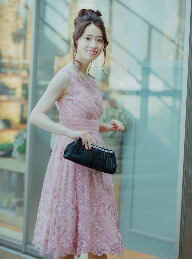 [M] ノースリーブスパンコールチェック柄ワンピース ピンク