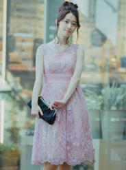 【レンタル】[M] ノースリーブスパンコールチェック柄ワンピース ピンク