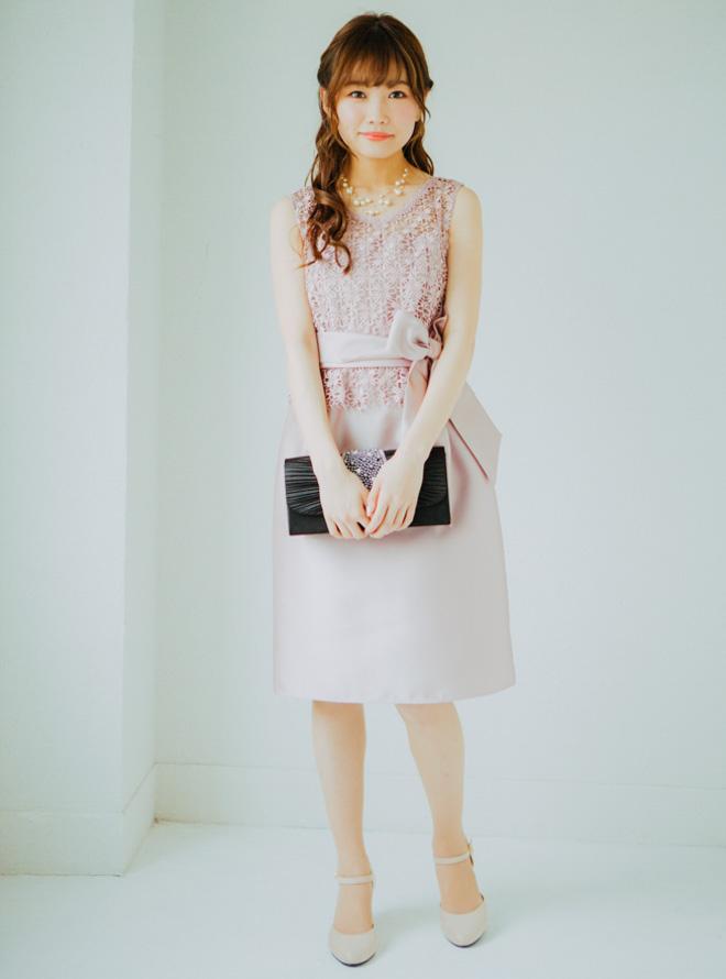 【レンタル】[M] ノースリーブ花柄コードレースワンピース ピンク