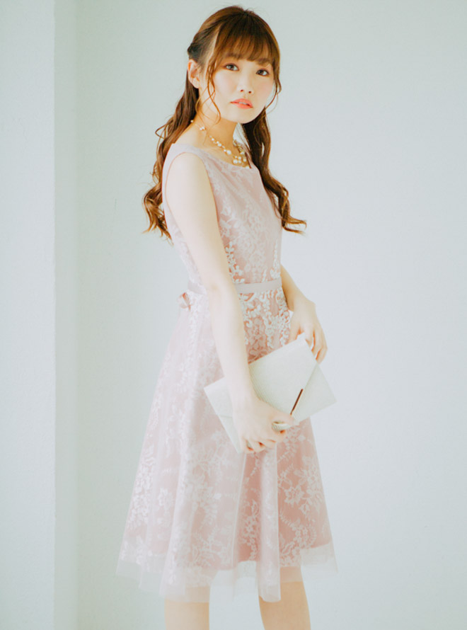 【レンタル】[M] ノースリーブウエスト花柄レースチュールワンピース ピンク