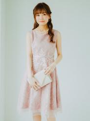 [M] ノースリーブウエスト花柄レースチュールワンピース ピンク