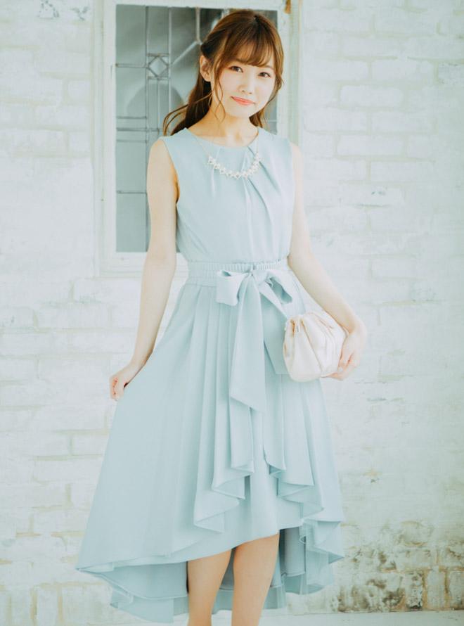 [M] アクセサリー&オーバースカート付きノースリフィッシュテールワンピース ライトグリーン