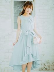 【レンタル】[M] アクセサリー&オーバースカート付きノースリフィッシュテールワンピース ライトグリーン