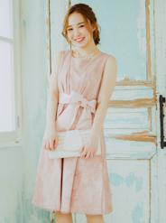 [M] サッシュベルト付ノースリーブウエスト切替花柄チュールワンピース ピンク